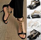 Sexy Womens T-Strappy Chain Open Toe Pumps Leather Heels Gladiator Sandals Shoes