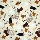 COTTON SOFA TABLECLOTH UPHOLSTERY FABRIC COFFEE BEANS CAFE HOME DECOR 11 VARIES