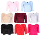 Ladies Fluffy Soft Furry Mohair Knitted Cropped Jumper Top  Spring Collection UK