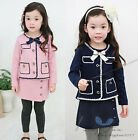 New Sweet Kids Girls Cute Bowknot Painted Pockets Tops Culottes Suit Ages4-10Y