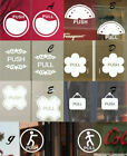 Pair Push Pull Sign Coffee Cake Shop Window Stickers Vinyl Decal Business Decor