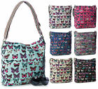 Big Handbag Shop Womens Designer Canvas Aztec Butterfly Messenger Cross Body Bag