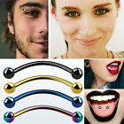 """Anodized Steel Banana Ring Snake Eyes 16G 3mm Balls 9/16""""-5/8"""" 4 Colors 1-4PC US"""