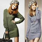 Womens Long Sleeve Knitwear Jumper Pullover Sweater Knit Mini Dress Beige Tops E