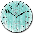 Large wall Harbor Turquoise Clock,12- 48 Whisper Quiet, Non-Ticking