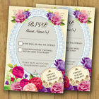 Vintage Wedding RSVP Reply Cards and Envelopes *Roses Lace Pink/Purple