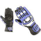Playwell Bikers Storm Leather Motorcycle Gloves Blue Motorbike Summer Race
