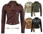 NEW LADIES BIKER JACKET CROP PVC FAUX LEATHER PU WOMENS BOMBER COAT SIZE 6-10