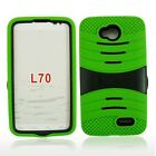 For LG Optimus L70 D320 MS323 Rugged Hybrid Armor Rubber Hard w/Stand Case Cover