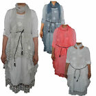 Ladies Italian dress lagenlook summer top womens dress lace smock tunic 10-16