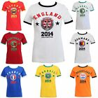 WOMENS LADIES WORLD CUP 2014 PRINTED TOP NATIONAL FOOTBALL SOCCER T SHIRT TOPUK