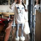Chic Womens Loose  Blue Eyes Cats Face Print Pullover Sweatshirt Jumper Sweater