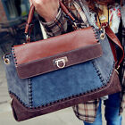 New Ladies Jeans Punk Style Faux Matte Leather Croco Tote Handbag Shoulder Bag