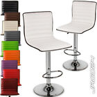 Two Bar Stools Breakfast Faux Leather Swivel Barstools Kitchen Home Pub Colours