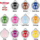 Red Dingo ANGEL WINGS Engraved Dog ID Pet Tag / Charm - Stainless Steel & Enamel