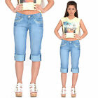 New Womens Ladies Blue Faded Long Denim Shorts Capri 3/4 Length Jeans Pants