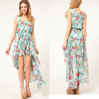 Summer Women Sweet Irregular Floral Chiffon Asymmetric Sleeveless Vest Dress New