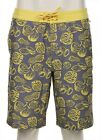 NEW Original Penguin Gray Yellow Nut Pattern Boardshorts