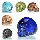 "2"" Natural Various Stone Jasper Crystal Human Skull Carving Sculpture"