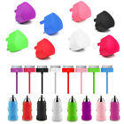 COLOUR USB Mains Car Charger Plug and cable for IPHONE 4S 4 3GS IPOD TOUCH NANO