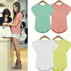 NEW Cute Women Ladies Short Sleeve Blouse Casual Cotton Tank Tops T-Shirt Summer