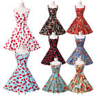 Vintage 50's Halter Dress Rockabilly Swing Pinup Retro Prom Party dress Cotton t