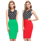 2014 Stylish Women Polka Dots Bodycon Pencil Skirt Cocktail Business Party Dress