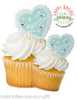 Bunting Name Heart Cupcake | Cake | Edible Toppers | Personalise hearts 8 x 2 ""
