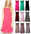 NEW WOMENS LADIES VEST SLEEVELESS SWING SKATER FLARED TUNIC TOP DRESS SIZE 8-14