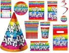 Rainbow Birthday Party Tableware Decorations Invites Bags Cups Plates Hats