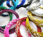 5 x Steel Wire Loop Necklaces ~ Various Colours ~ Screw Clasp ~ Jewellery Making