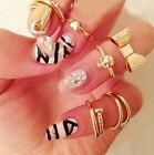 New 7PCS Set Gold Skull Stack Plain Cute Above Knuckle Ring Band Midi Rings