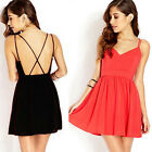 Charming Womens Sexy Backless V-Neck Chiffon Mini Short Clubwear Beachwear Dress