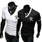Letter Print Men Casual Fashion Slim Fit Short Sleeve T-Shirt Black/White
