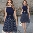 Vintage Women Polka Dot Formal Evening Office Summer Chiffon Midi Slim Dress HOT