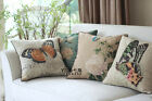 French Country Retro Vintage Floral Bird Cotton Linen Throw Pillow Cushion Cover