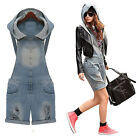 1 Woman's Trend Vintage Retro Casual Overall Hooded Shorts Ripped Jeans Jumpsuit