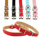 "7-18"" Length High Quality Plain Leather Dog Collars Puppy Pet Collars 5 Colors"
