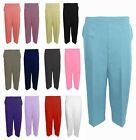 WOMENS 3/4 STRETCH ELASTICATED WAIST CAPRI CROPPED LADIES TROUSERS PLAIN PANTS