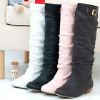 WOMENS BUCKLE FLAT LONG BOOTS SIZE 345678910111213 brown black white 8023#