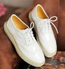 Ladies Fashion Lace Up Cut Out Low Heel Flat Brogue Loafer Shoes White/Pink