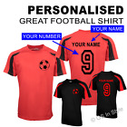 Personalised Contrast Football Shirt with Football YOUR NAME & NUMBER Boys Girls