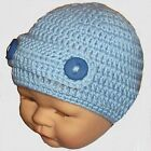 BABY BOYS CROCHET BEANIE HAT knit buttoned bar cap winter 1-2 year cory blue