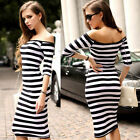 New Women Long Maxi Sexy off shoulder Half Sleeve Party Evening Cocktail Dress