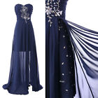 Party Cocktail Long Chiffon Evening Beading Gown Prom Swing dress Navy Blue/ Red