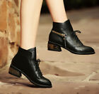 Women Lace Up Zip Block Heel leather pointed Ankle Boots Booties Shoe