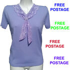 New Ladies Short Sleeve Knitted Top. Blue, Peach, Lilac, Yellow, Black, Pink