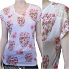 Vocal Coral & Pink Skull Floral Print Bling Rhinestone Lace T-shirt S, M, XL