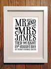 Personalised Mr & Mrs Valentines/Anniversary/Wedding/Love Print Picture Gift