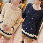 Lady Star Stripe Mohair Embroidery Sweater Jumper Knitwear Pullover Tops